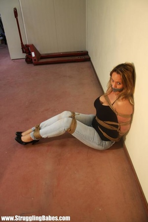 Gag taped blonde chick in jeans gets hog - XXX Dessert - Picture 4