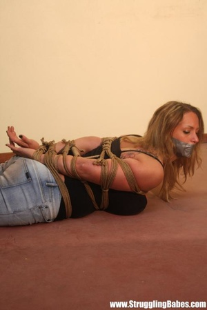 Gag taped blonde chick in jeans gets hog - XXX Dessert - Picture 6