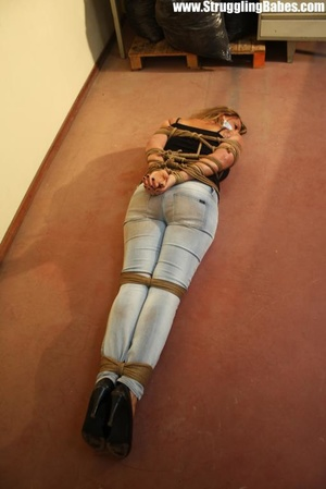 Gag taped blonde chick in jeans gets hog - XXX Dessert - Picture 7