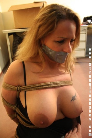 Gag taped blonde chick in jeans gets hog - XXX Dessert - Picture 9