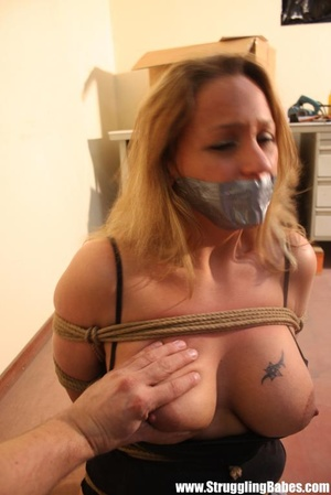 Gag taped blonde chick in jeans gets hog - XXX Dessert - Picture 11
