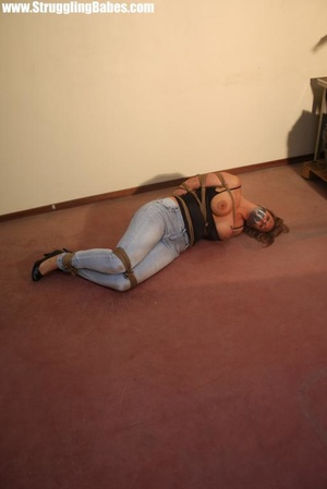 Gag taped blonde chick in jeans gets hog - XXX Dessert - Picture 12