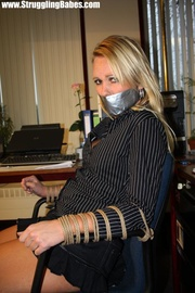 gagtaped blonde secretary gets