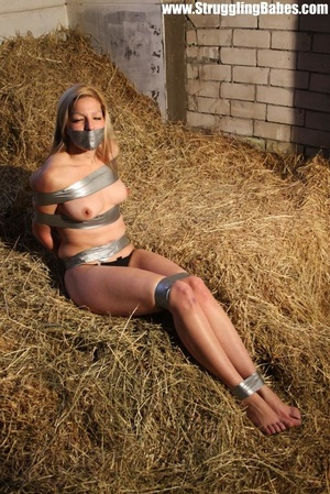 Naked blonde gal tape bound suffering in - XXX Dessert - Picture 3