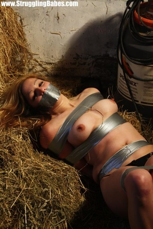Naked blonde gal tape bound suffering in - XXX Dessert - Picture 5