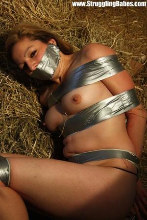 Naked blonde gal tape bound suffering in - XXX Dessert - Picture 6
