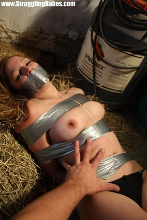 Naked blonde gal tape bound suffering in - XXX Dessert - Picture 9
