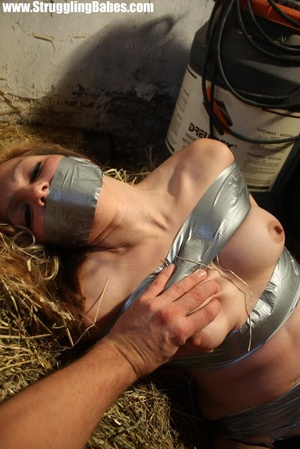 Naked blonde gal tape bound suffering in - XXX Dessert - Picture 10