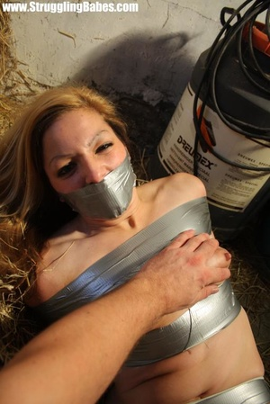 Naked blonde gal tape bound suffering in - XXX Dessert - Picture 11