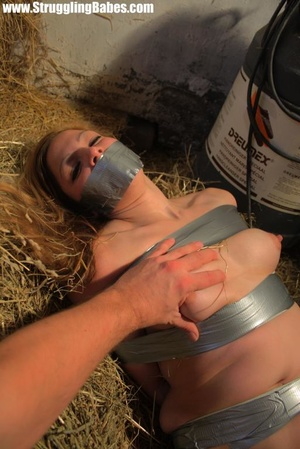 Naked blonde gal tape bound suffering in - XXX Dessert - Picture 12