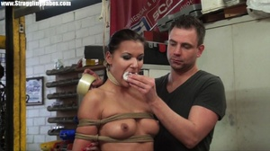 Poor brunette girl in distress hogtied h - XXX Dessert - Picture 10