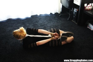 Ginger girl in a black dress gets bound  - XXX Dessert - Picture 4