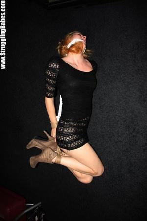 Ginger girl in a black dress gets bound  - XXX Dessert - Picture 9