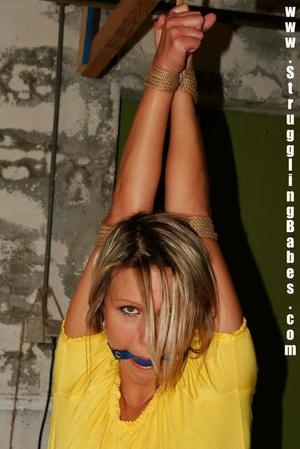 Blonde gal in a yellow T-shirt dangling  - XXX Dessert - Picture 5