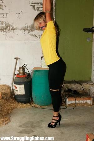 Blonde gal in a yellow T-shirt dangling  - XXX Dessert - Picture 6