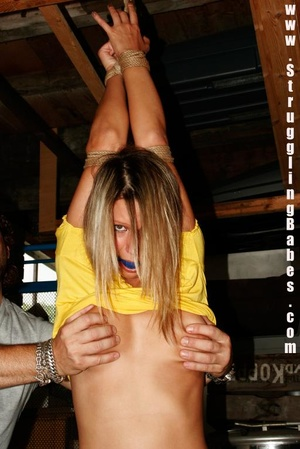 Blonde gal in a yellow T-shirt dangling  - XXX Dessert - Picture 14