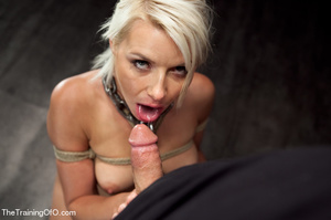 Blonde ponytailed bitch roped in karada style gets punished violently and fucked before final blowjob - XXXonXXX - Pic 1
