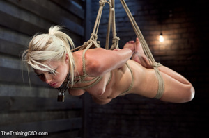 Blonde ponytailed bitch roped in karada style gets punished violently and fucked before final blowjob - XXXonXXX - Pic 3