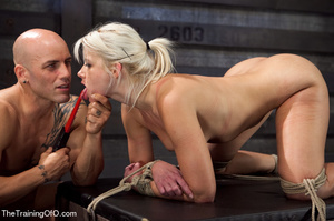 Blonde ponytailed bitch roped in karada style gets punished violently and fucked before final blowjob - XXXonXXX - Pic 10