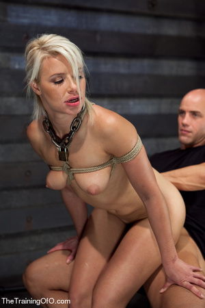 Blonde ponytailed bitch roped in karada style gets punished violently and fucked before final blowjob - XXXonXXX - Pic 14