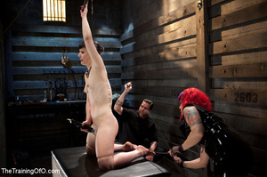 Multicolor-haired mistress and her assistant punishing their victim in a blindfold badly with pins and clamps and rubbing her cooch with a huge vibro - XXXonXXX - Pic 6