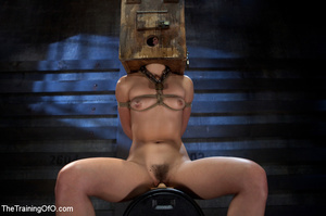 Poor girl with a wodden box with hole on her head sitiing on a fucking machine when master caning her heels - XXXonXXX - Pic 9