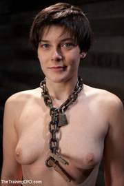 short-haired girl with chain