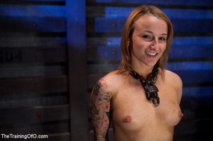 Tattooed enslaved girl in cincher and boots gets her pooper slammed badly by her big bald master - XXXonXXX - Pic 1