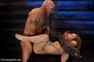 Tattooed enslaved girl in cincher and boots gets her pooper slammed badly by her big bald master - XXXonXXX - Pic 7
