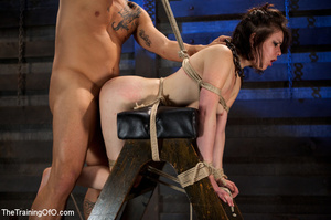 Brunette chick with shinju and neck hanged forced to jump on her master's boner - XXXonXXX - Pic 10
