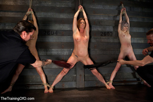 Three stretched and bound tgether girls gets flogged before torturing and fucking in the bdsm basement - XXXonXXX - Pic 3