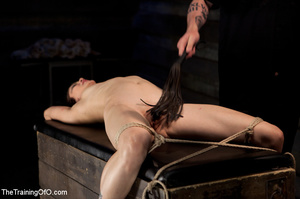 Brunette tattooed chick gets fixed into special bondage device and hung under a ceiling before fucking in the bdsm training center - XXXonXXX - Pic 14