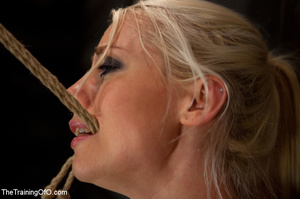 Blonde onytailed bitch gets tortured with tit pumps and clothes pins in dark basements of her bdsm master - XXXonXXX - Pic 6