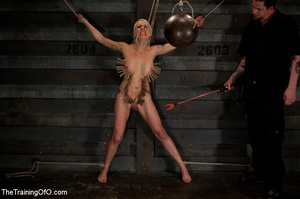 Blonde onytailed bitch gets tortured with tit pumps and clothes pins in dark basements of her bdsm master - XXXonXXX - Pic 8