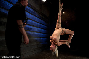 Blonde onytailed bitch gets tortured with tit pumps and clothes pins in dark basements of her bdsm master - XXXonXXX - Pic 10