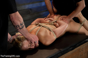 Bound blonde chick with a gag-ball gets her cooch drilled by her master eagerly - XXXonXXX - Pic 13