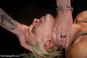 Bound blonde chick with a gag-ball gets her cooch drilled by her master eagerly - XXXonXXX - Pic 15