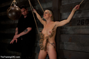 Blonde onytailed bitch gets tortured with tit pumps and clothes pins in dark basements of her bdsm master - XXXonXXX - Pic 15