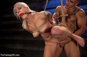 Blonde ponytailed chick with a gag-ball gets roped and hung and tortured with the electricity - XXXonXXX - Pic 8