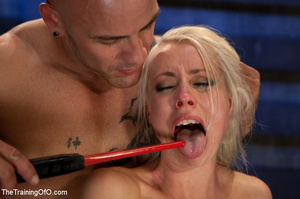 Blonde ponytailed chick with a gag-ball gets roped and hung and tortured with the electricity - XXXonXXX - Pic 13