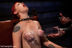 Hot red chick gets roped to an armchair to be tortured and punished badly in bdsm basement - XXXonXXX - Pic 3