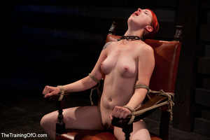 Hot red chick gets roped to an armchair to be tortured and punished badly in bdsm basement - XXXonXXX - Pic 15