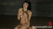 brunette girl gets bound