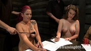 four naked girls passing