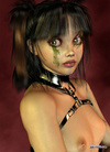 Cool 3d teen girl in a black latex corset and G strings