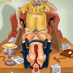 Bald boss begs his brunette secretary to suck - Cartoon Sex - Picture 1