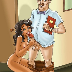 Bald boss begs his brunette secretary to suck - Cartoon Sex - Picture 3
