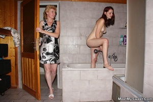 Dirty blonde mom seduces her son's GF to - XXX Dessert - Picture 22