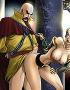 Bald cartoon man fucking hard hot girl in awesome porn comix