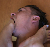 Dude gagging with chick's feet when she's dominating in dirty porn feetfetish